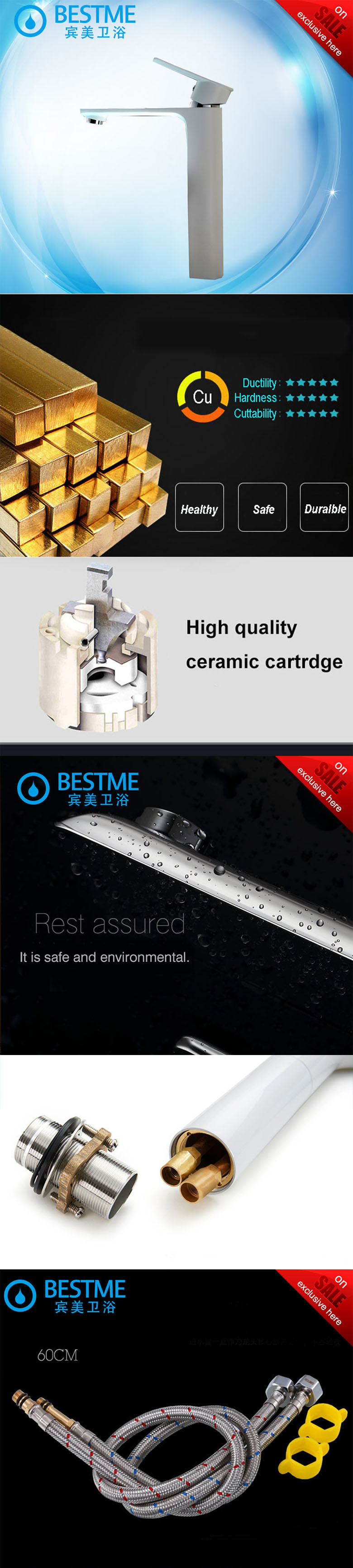 Deck Mounted White Color Single Lever Basin Faucet (BM-A10025W)