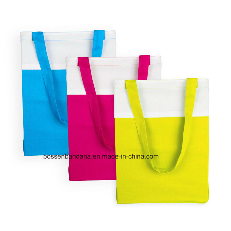 Custom Made Logo Printed Cotton Canvas Colorful Promotional Shopping Craft Totes Bag