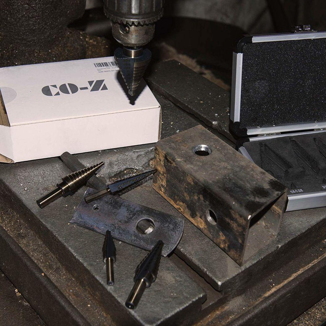 5PCS HSS Cobalt Multiple Hole 50 размеров с алюминиевым корпусом, ступенчатое сверло