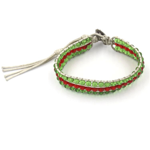 Fashionable Woven Bangle with Crystals Bead Bracelet