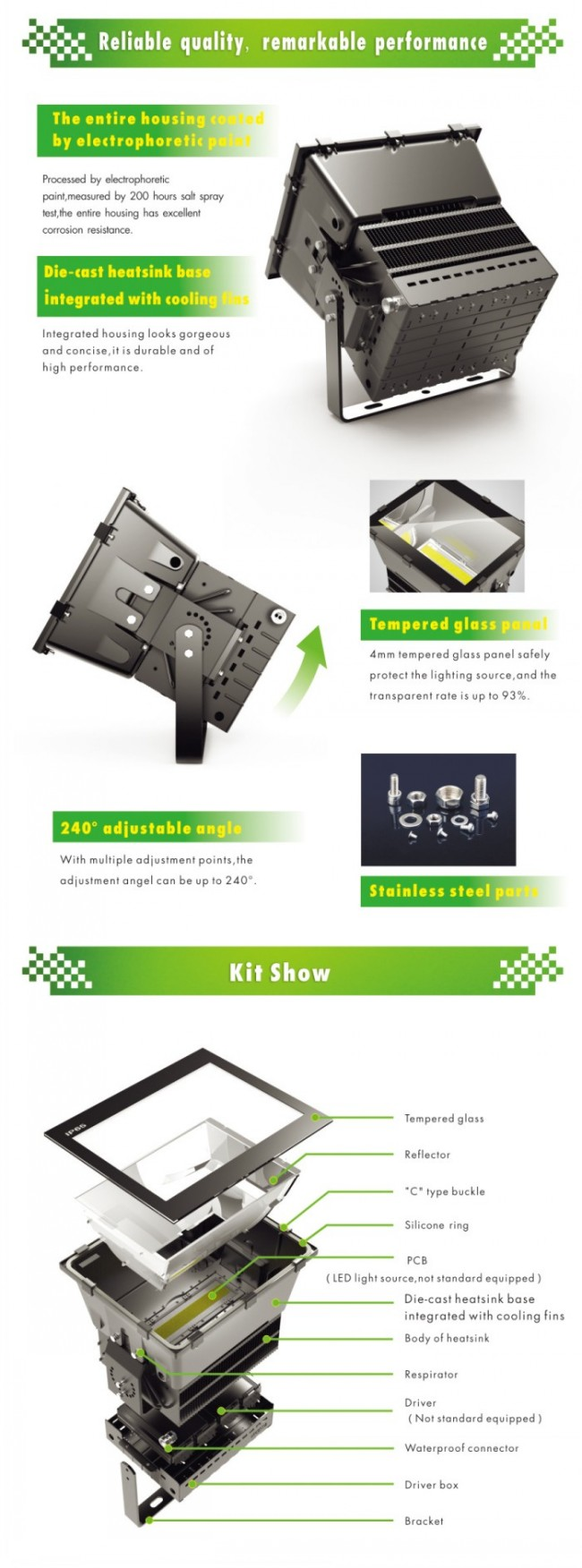 100000lm City Square LED Floodlight 1000W Outdoor LED Lamp Meanwell Driver CREE Chip