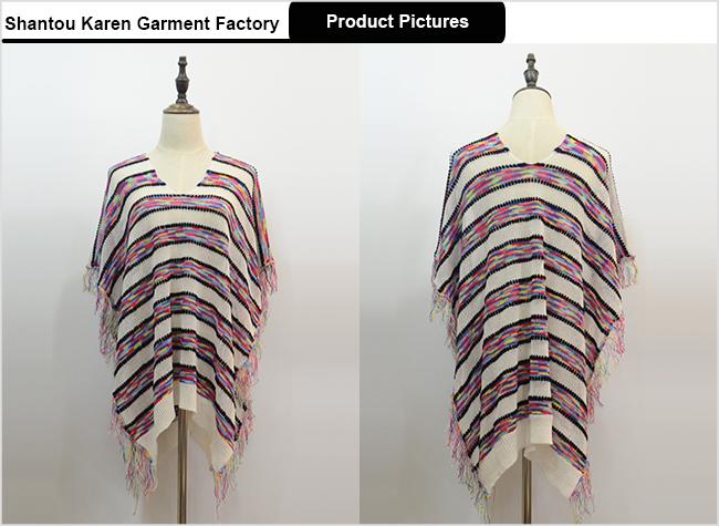 Women Fringe Oversized V-Neck Short Sleeve Poncho Knitted