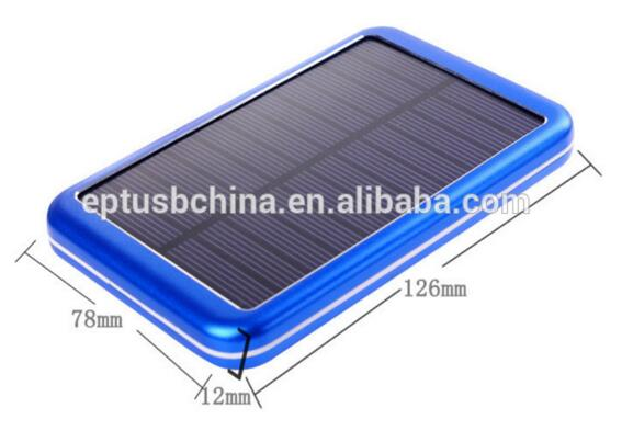 5000mAh Waterproof Solar Power Bank Alluminum Solar Mobile Charger