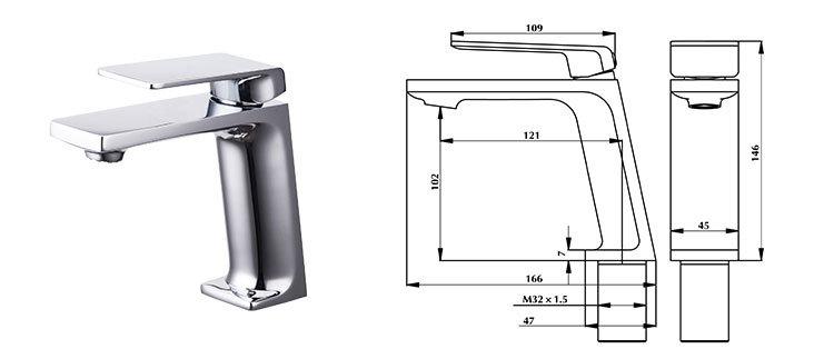 Modern Design Black Color Brass Lavatory Basin Faucet for Bathroom