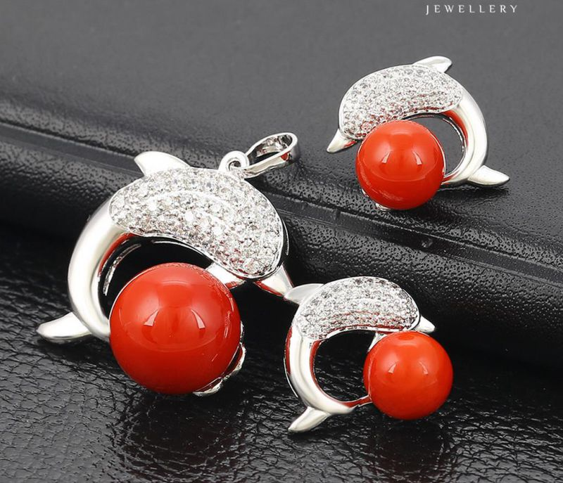 63973 Fashion Charm CZ Pearl Fish Design Rhodium Jewelry Set