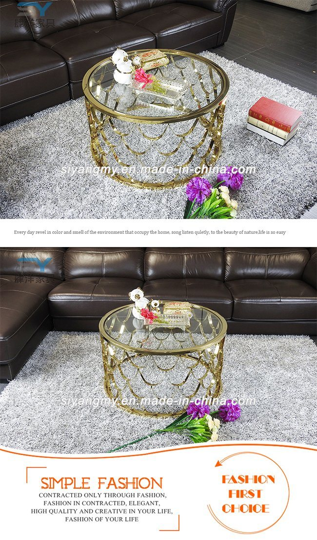 High Grade Rose Gold Stainless Steel Glass Coffee Table