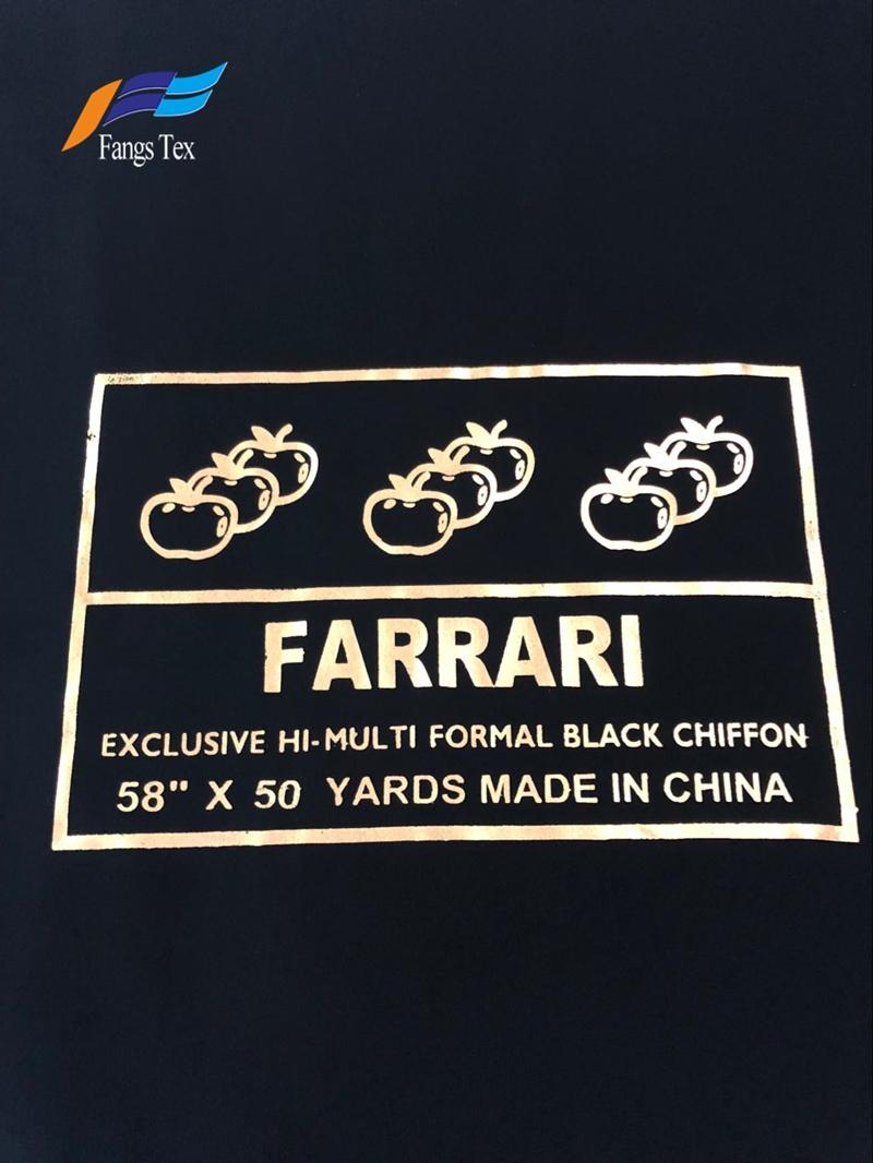 100% Polyester Abaya Formal Black Hi-multi Chiffon Fabric