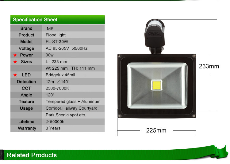 High Lumens Solar Sensor LED Flood Light 20W