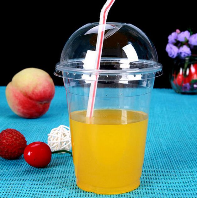 12oz Pet Disposable Logo Smoothie Plastic Cups with Dome Lid