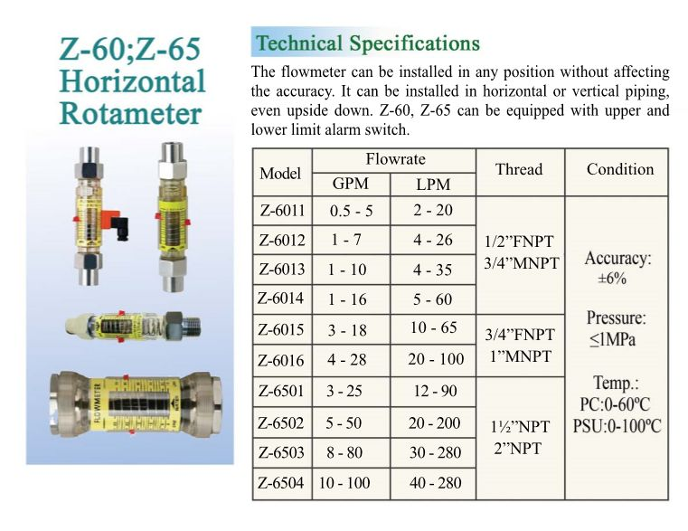 Horizontal Upper and Lower Alarm Switch Limit Water Rota Meter Flow Meter