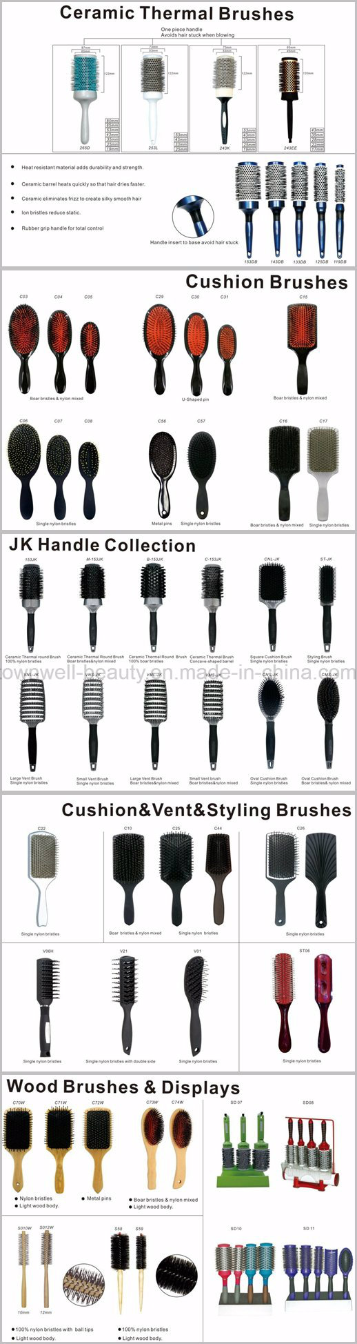 Boar Bristle and Nylon Brush Cushion Brush Collection
