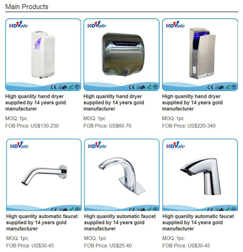Modern Wall Mounted Automatic Electric Jet Air Hand Dryer for Bathroom