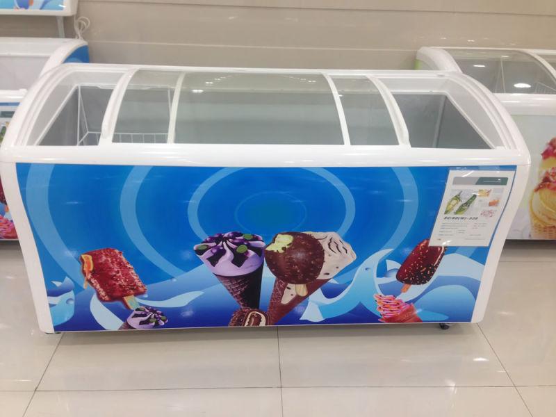 Commercial Sliding Glass Door Ice Cream Chest Freezer