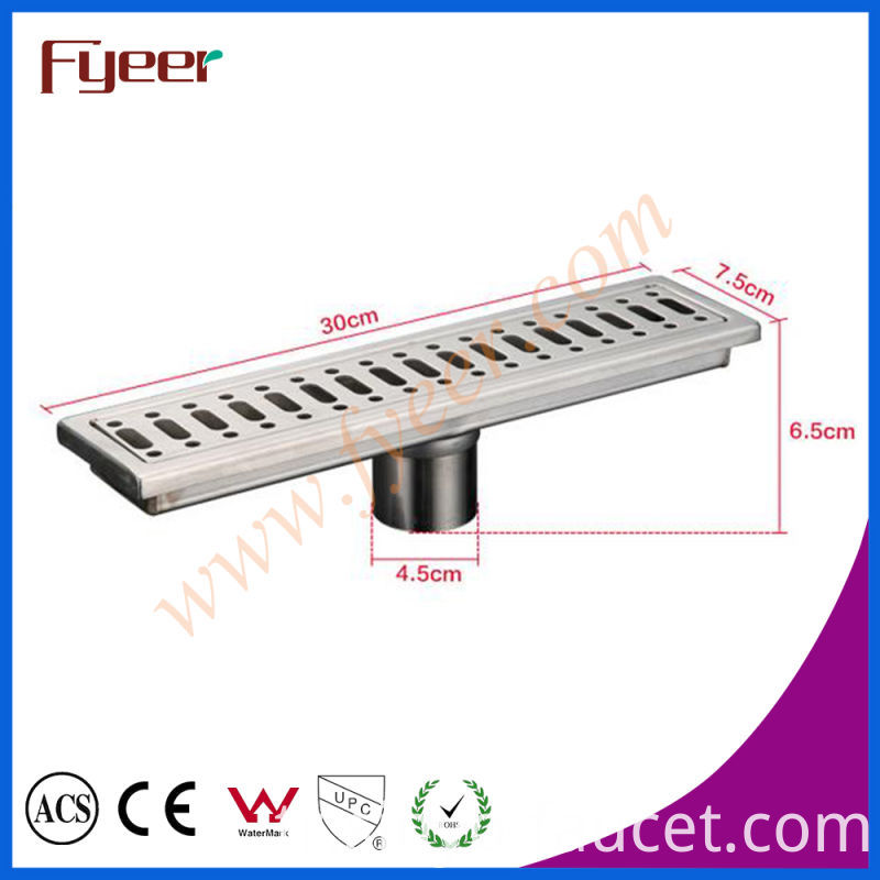 Fyeer 30cm Odor-Resistant Rectangle Stainless Steel Long Floor Drain