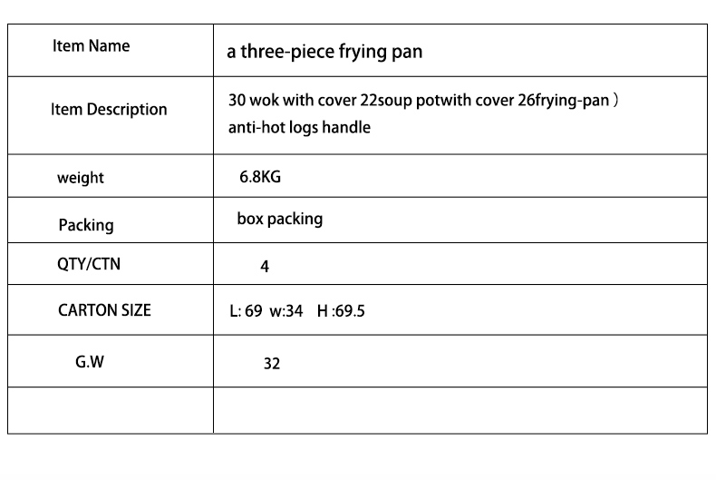 3PCS Cookware Sets 30 Wok with Cover 22 Soup Pot with Cover 26 Frying Pan with Cover