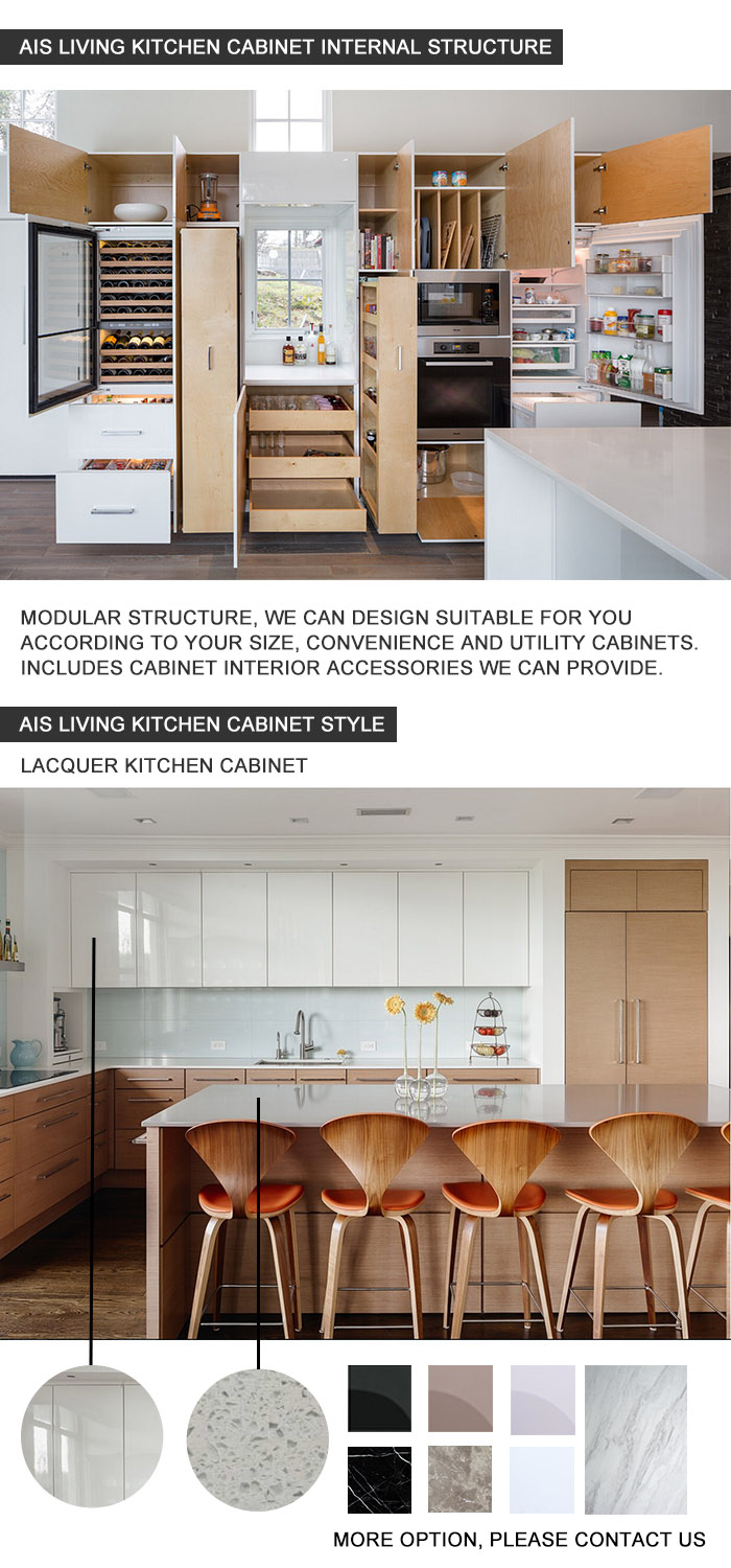 UV Finished Modern Design kitchen Cabinet with Island Made in China (AIS-K971)