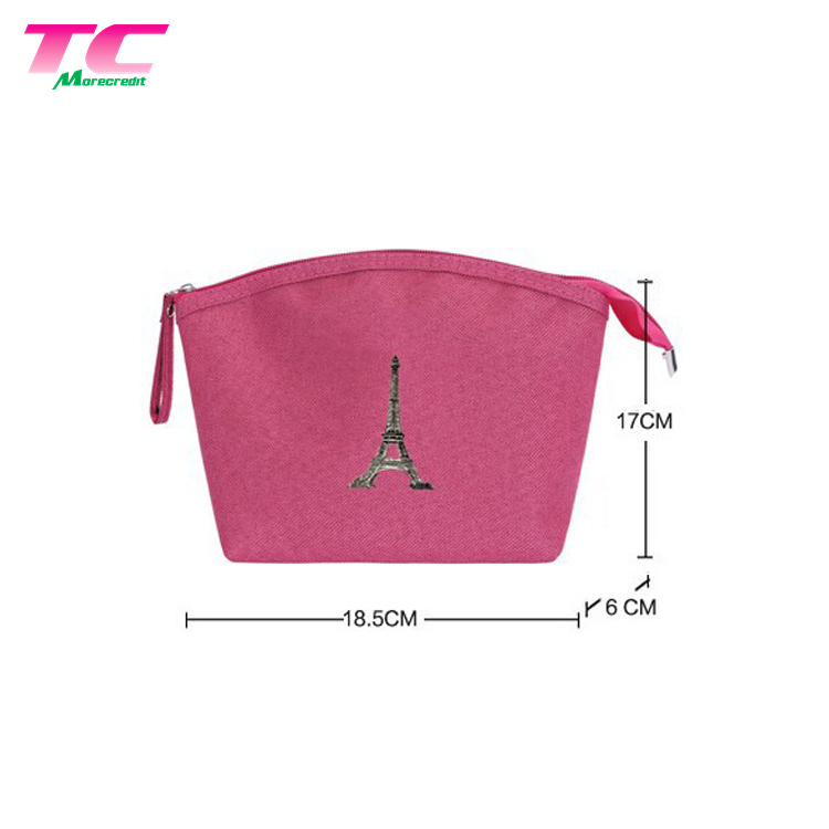 Personalized Blank Pink Cosmetic Bag Plain Canvas Portable Makeup Cases