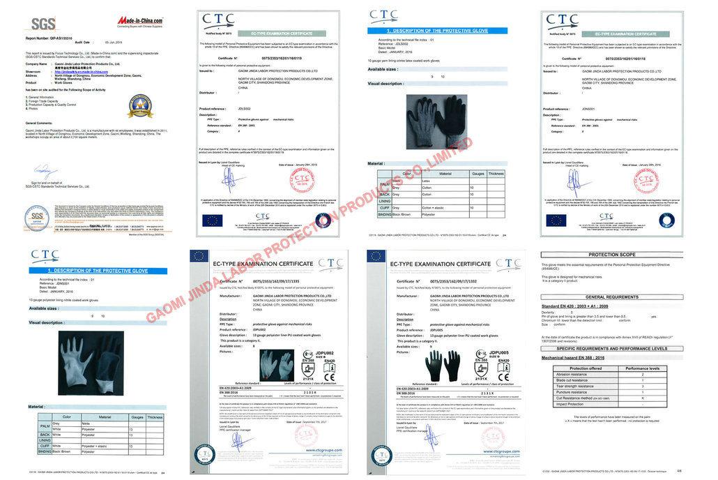 Flannelette Liner PVC Coated Oil Resistant Safety Work Industrial Gloves