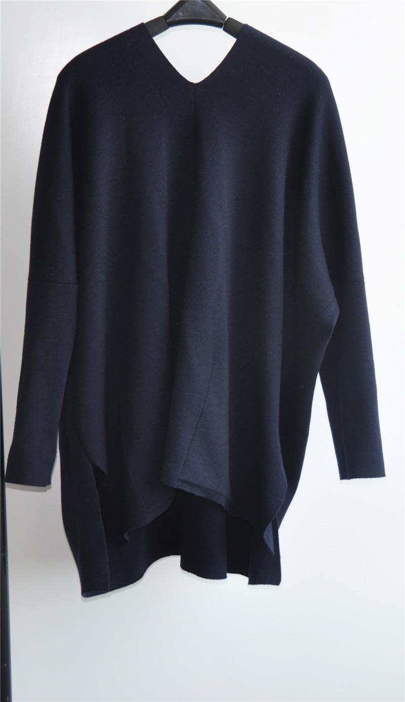 Winter 100% Wool Women V-Neck Knit Sweater Sweater