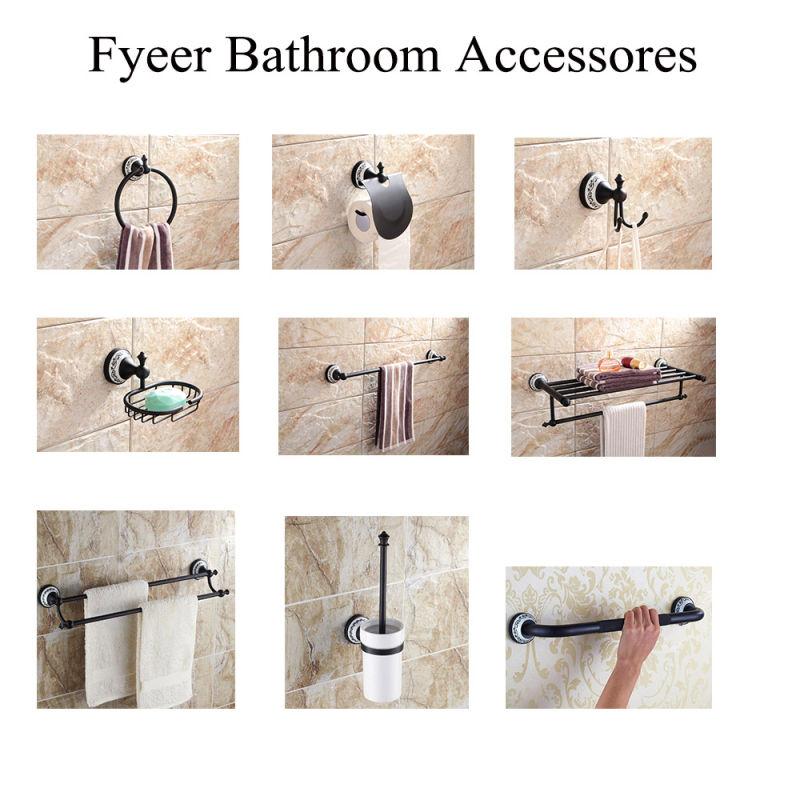 Fyeer Classic Black Bathroom Accessory Toilet Paper Roll Holder