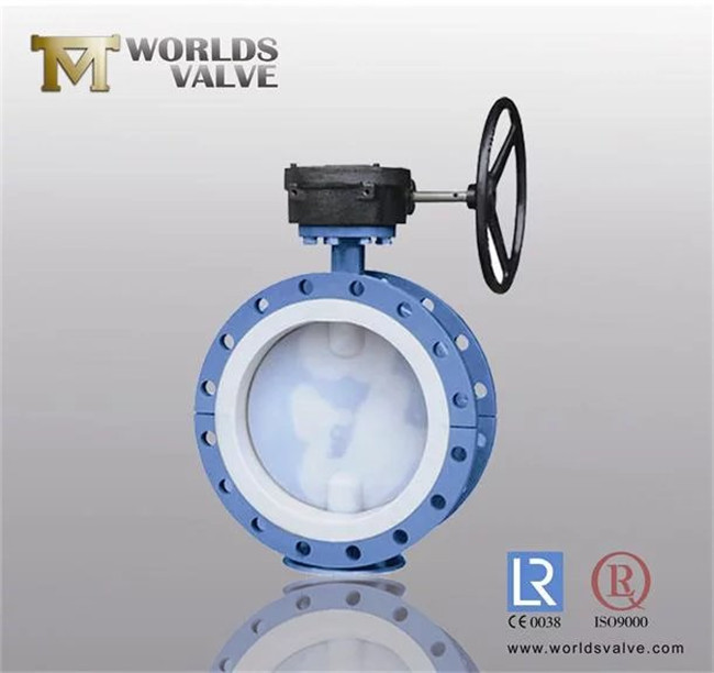 PTFE Fully Lined Double Flange Butterfly Valve (D41F-10/16)
