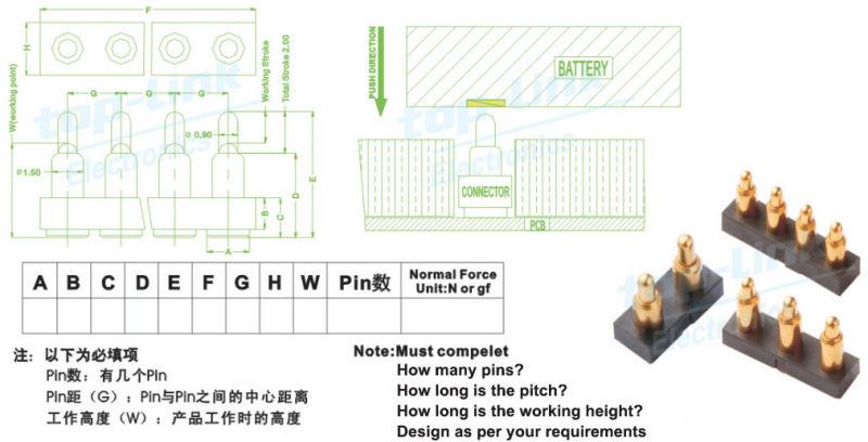 Single Row 8pin Bending Spring Loaded Pogo Pin Connector