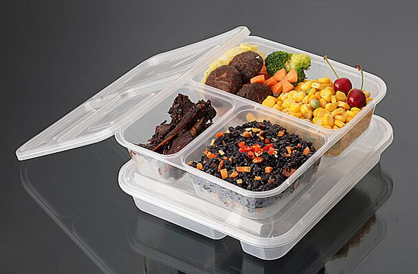 Hot Bento/Meal/Round Disposable 3-Compartment PP Plastic Microwave Food Container