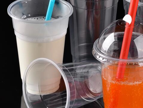 16 Oz. Plastic Clear Cups with Flat Lids for Iced Coffee Bubble Boba Tea Smoothie