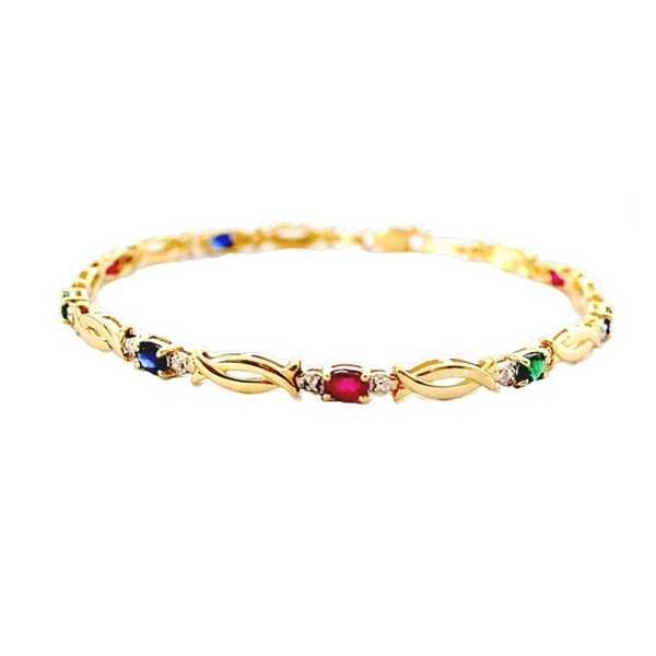 925 Sterling Silver Xo Bracelet Jewelry with Color Stones