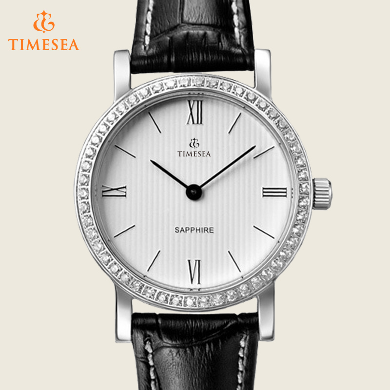 Fashion Stainless Steel Ladies Watch with Leather Band 71162