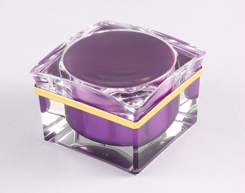 Square Luxury Acrylic Golden Jar