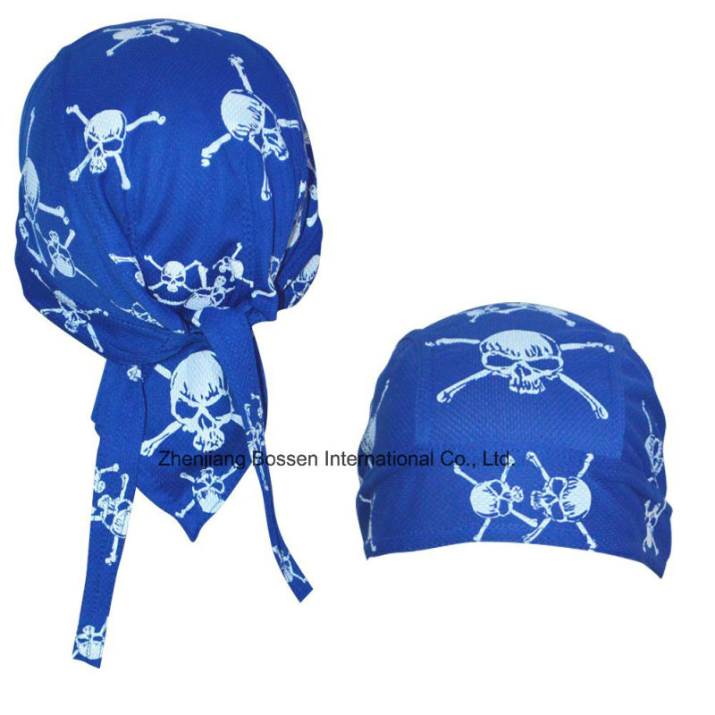 China OEM Produce Customized Logo Printed White Spider Webs Promotional Headscarf Head Wrap