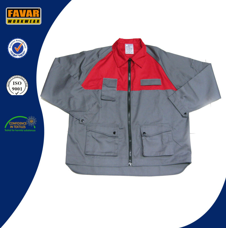 Latest Men Two Tone Grey Red Work Jacket