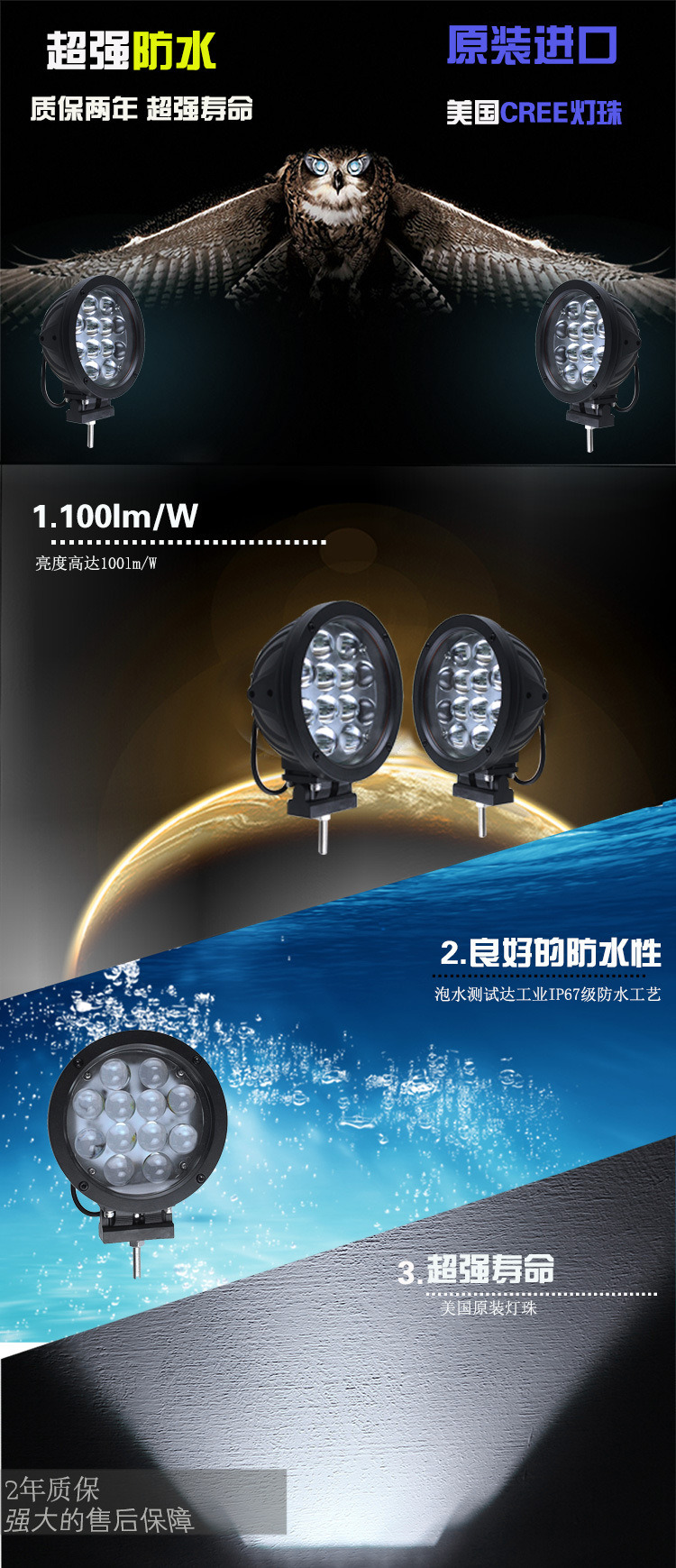 Auto LED Work Light 60W for Vehicles Trucks Working Light IP69K Waterproof