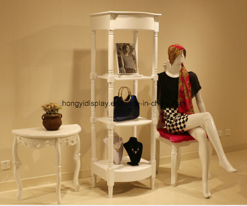 Square Display Table, Wooden Display Rack