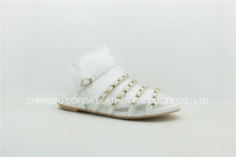 Fashion Simple Flat Leather Lady Sandals