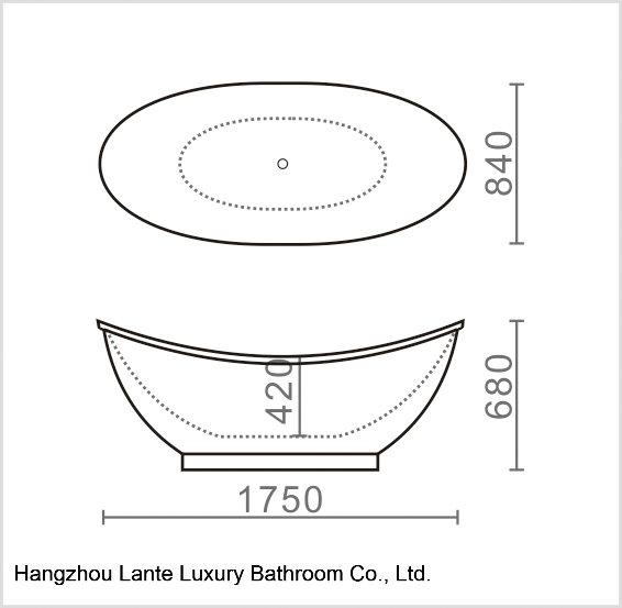 Fashion Design Acrylic Simple Common Bathtub (LT-15T)