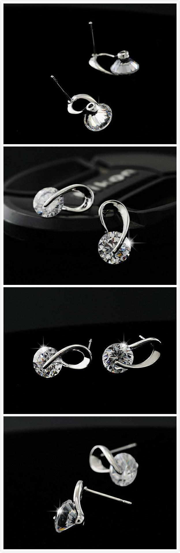 Crystal Wedding Pendientes Mujer Silver Color Zircon Crystal Stud Earrings