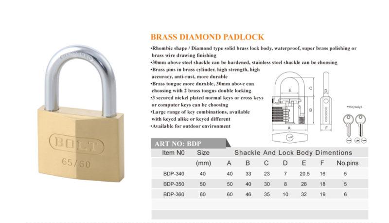 Diamond Brass Rhombic Type Padlock with Double Locking