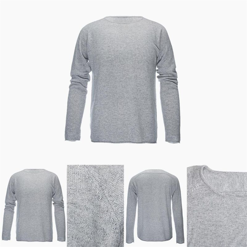 Men's Round Neck Long Sleeve 100% Top Grade Pure Cashmere Sweater