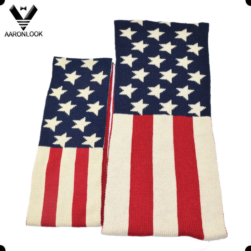 USA Star Flag Acrylic Knitted Winter American Style Scarf for Children