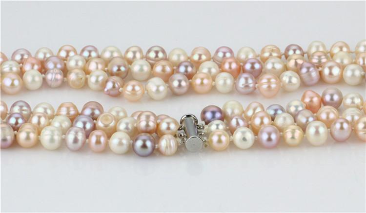Snh 8-9mm A Grade 3 Rows Multicolor Pearl Necklace Wholesale