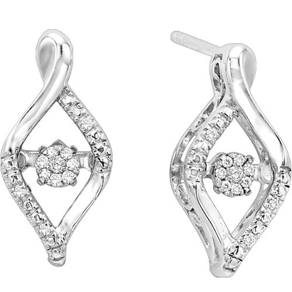 Fashion 925 Silver Stud Earrings with Diamond Dancing Jewelry