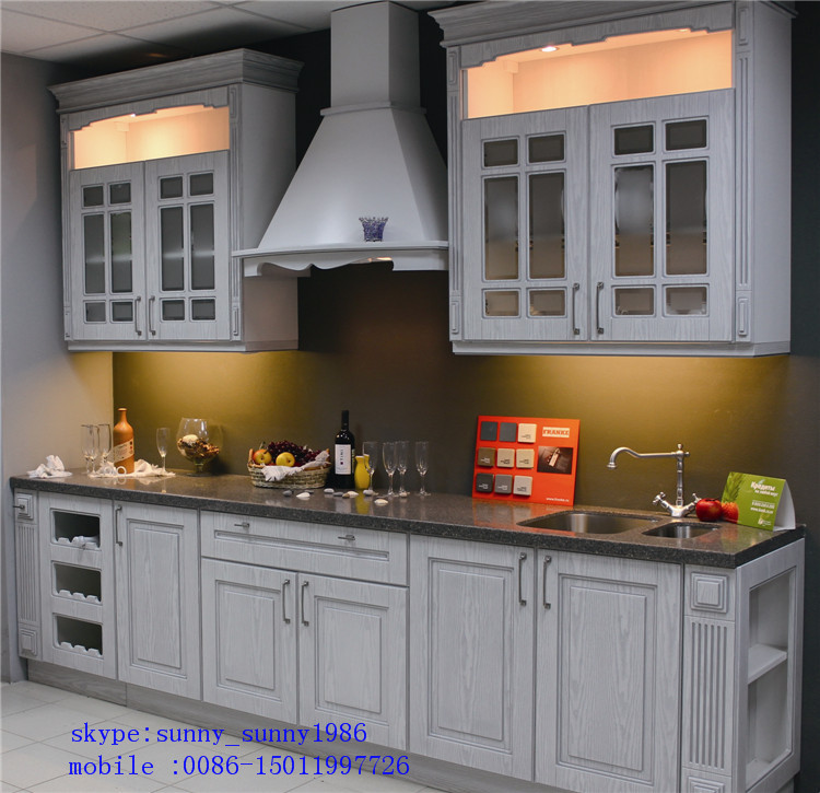 Customized PVC Vacumn Kitchen Cabinets Cupboard for Hotel Project