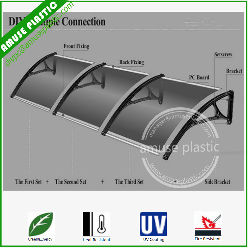 Environment-Friendly Polycarbonate Plastic Door Awning, Sun Shade Window Canopy