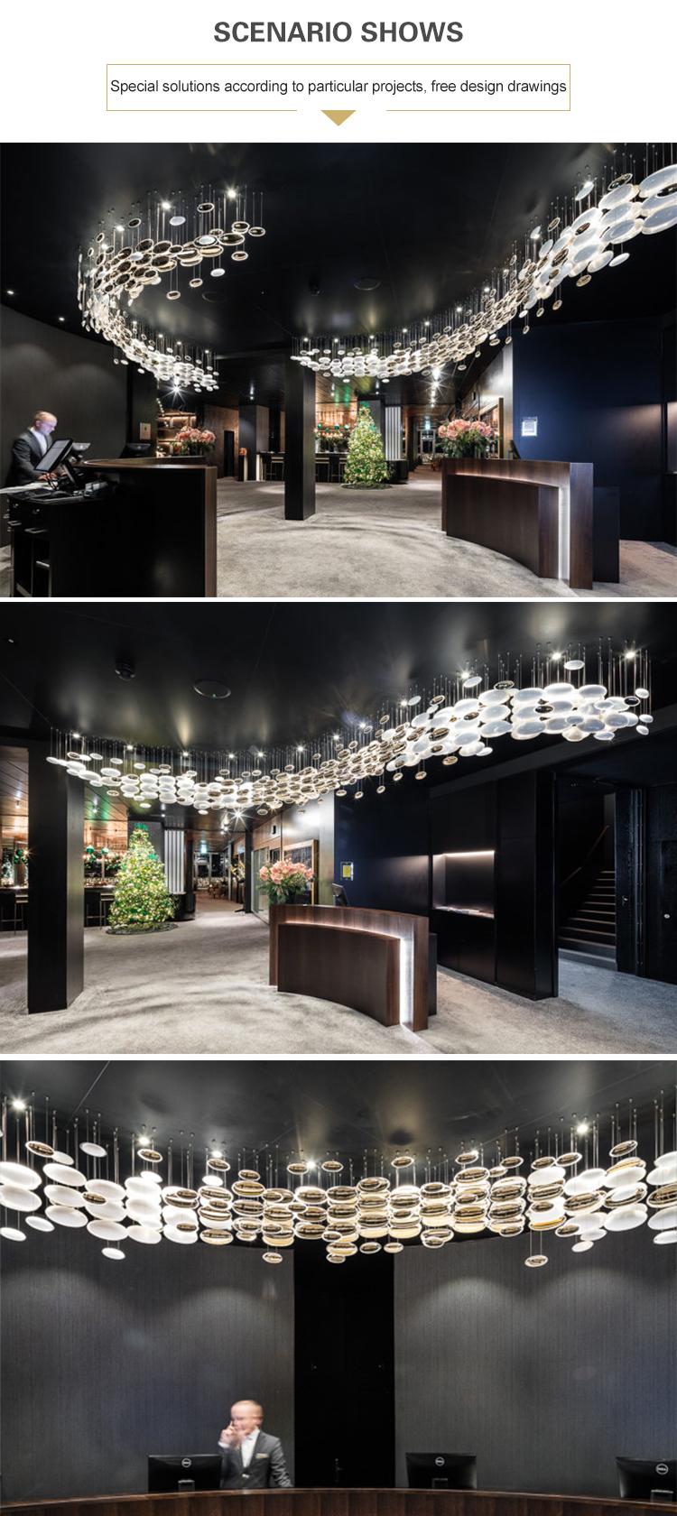Projeto de design moderno, grande e fascinante, salão de banquetes personalizado com luz LED lustre