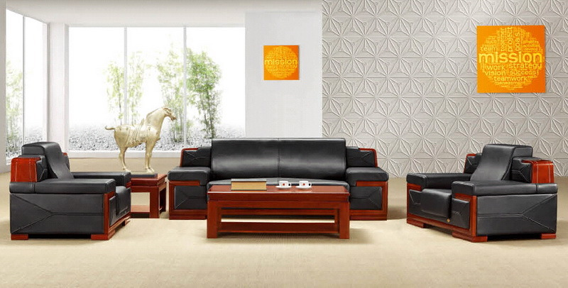 Large Size Executive Room Wooden Office Sofa Sets in 1+1+3 (S023)