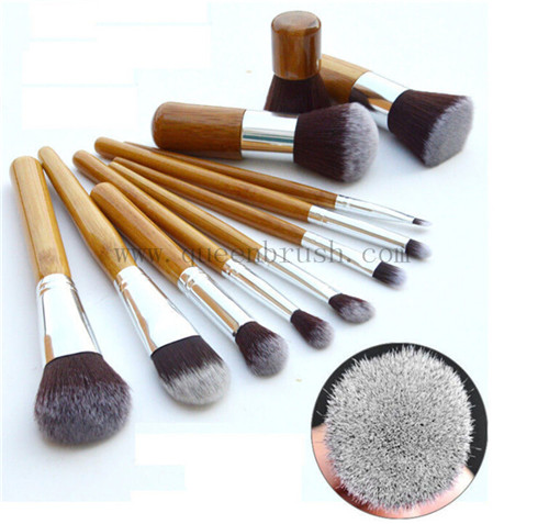 Synthetic Hair Brushes Bamboo Cosmetic Makeup Brush Set with Bag