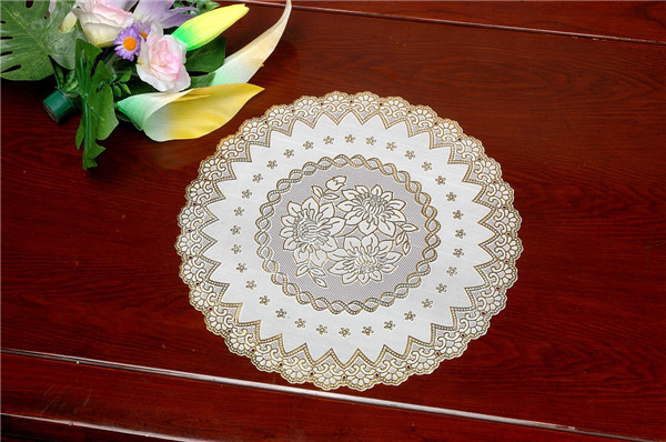 Feature Oilproof/Waterproof PVC Gold Lace Tablemat 40cm Round