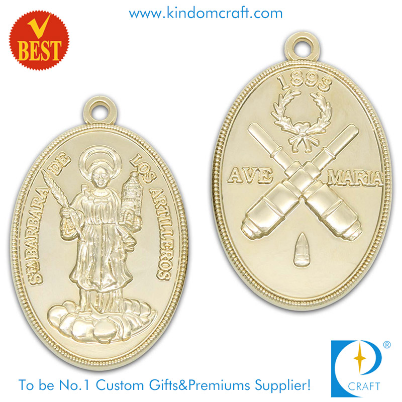 Supply 3D Both Side Pressure Stamping Gold Plating Religious Medal in Zinc Alloy